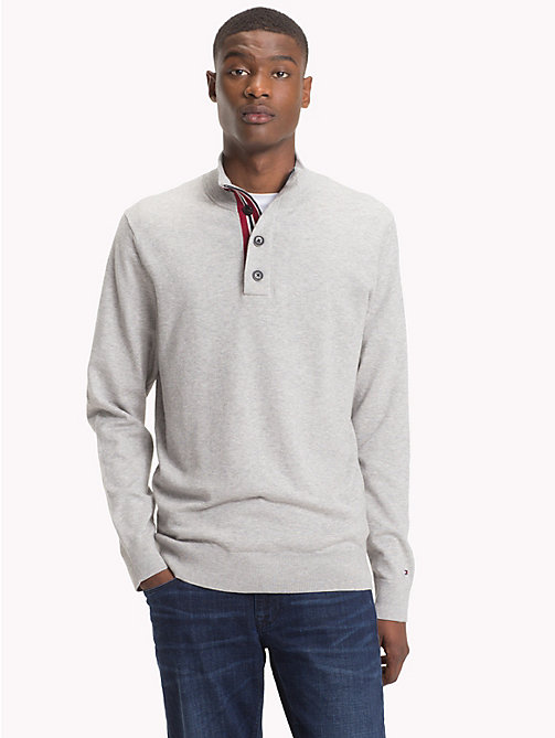 TOMMY HILFIGER Button-Neck Cotton Silk Jumper - CLOUD HTR - TOMMY HILFIGER Jumpers - main image