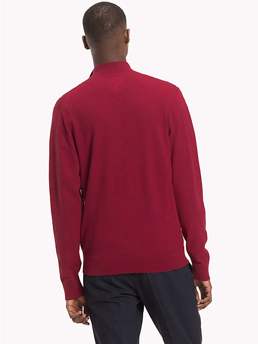 TOMMY HILFIGER Button-Neck Cotton Silk Jumper - RHUBARB HEATHER - TOMMY HILFIGER NEW IN - detail image 1
