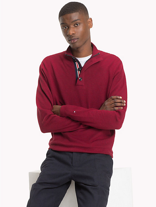TOMMY HILFIGER Button-Neck Cotton Silk Jumper - RHUBARB HEATHER - TOMMY HILFIGER Clothing - main image