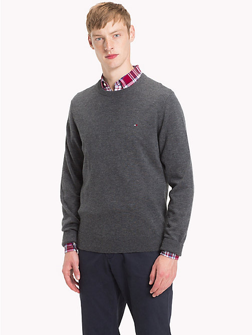TOMMY HILFIGER Lambswool Crew Neck Jumper - CHARCOAL HTR - TOMMY HILFIGER NEW IN - main image