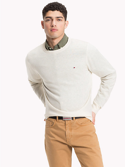 TOMMY HILFIGER Lambswool Crew Neck Jumper - WHISPER WHITE HEATHER - TOMMY HILFIGER Sweatshirts & Knitwear - main image