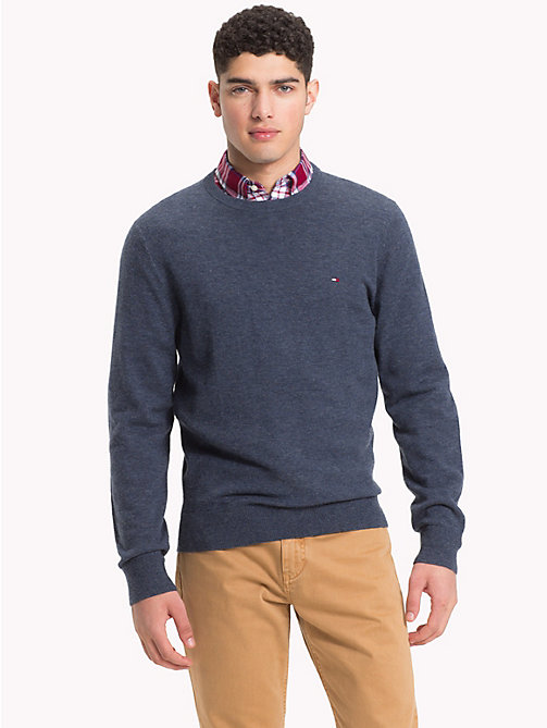 TOMMY HILFIGER Lambswool Crew Neck Jumper - OMBRE BLUE HEATHER - TOMMY HILFIGER NEW IN - main image