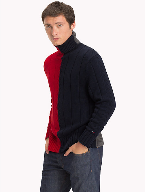 TOMMY HILFIGER Premium Wool Blend Turtleneck Jumper - 413-SKY CAPTAIN - TOMMY HILFIGER NEW IN - main image