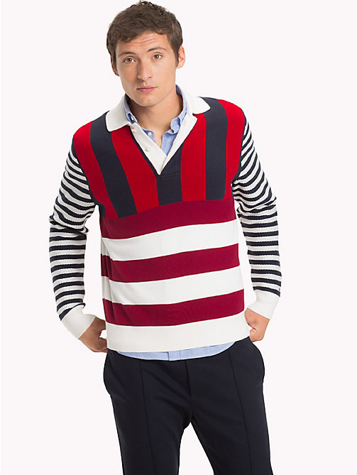 TOMMY HILFIGER Stripe Long Sleeve Rugby Shirt - SNOW WHITE - TOMMY HILFIGER Rugby shirts - main image