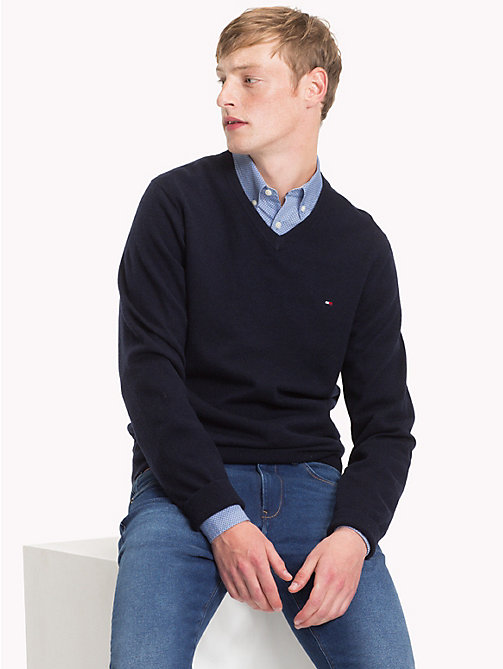 TOMMY HILFIGER Lambswool V-Neck Jumper - SKY CAPTAIN HEATHER - TOMMY HILFIGER NEW IN - main image