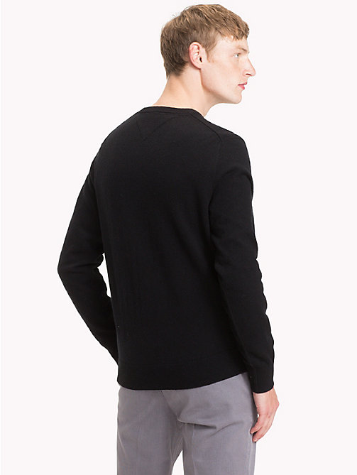 TOMMY HILFIGER Pullover in lana d'agnello con scollo a V - JET BLACK HEATHER - TOMMY HILFIGER Come Scaldarti - dettaglio immagine 1