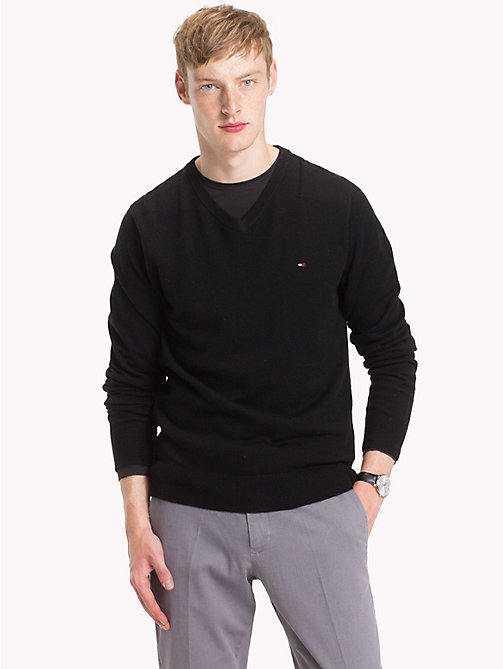 TOMMY HILFIGER Lambswool V-Neck Jumper - JET BLACK HEATHER - TOMMY HILFIGER Winter Warmers - main image