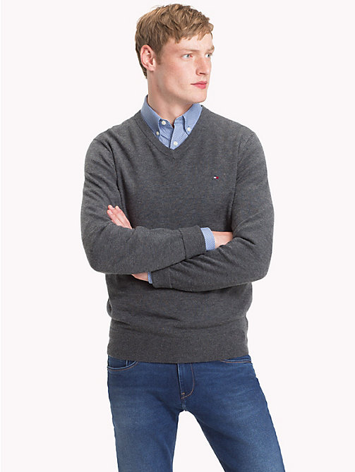 TOMMY HILFIGER Lambswool V-Neck Jumper - CHARCOAL HTR - TOMMY HILFIGER Winter Warmers - main image