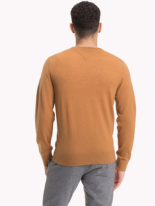 TOMMY HILFIGER Lambswool V-Neck Jumper - DIJON HEATHER - TOMMY HILFIGER NEW IN - detail image 1
