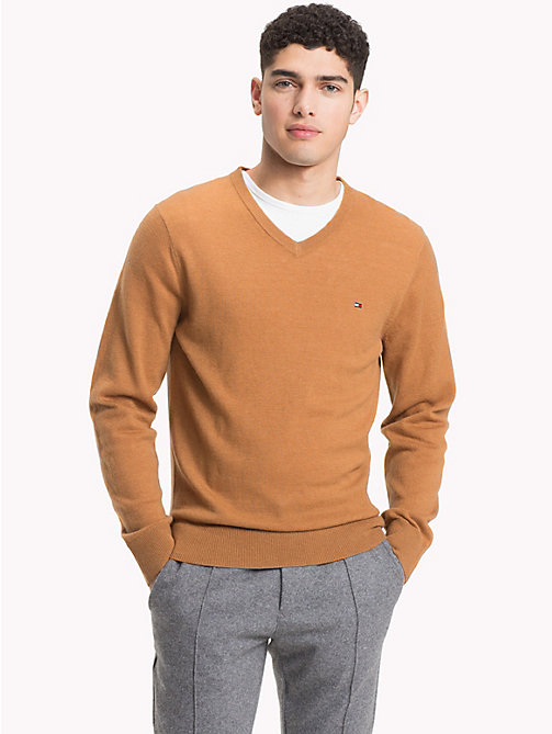 TOMMY HILFIGER Lambswool V-Neck Jumper - DIJON HEATHER - TOMMY HILFIGER Sweatshirts & Knitwear - main image