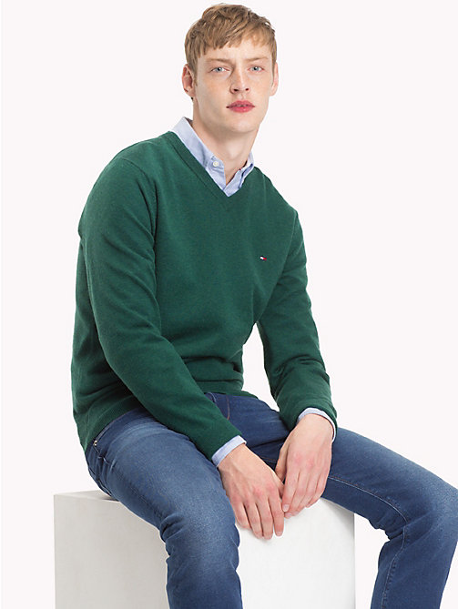 TOMMY HILFIGER Lambswool V-Neck Jumper - RAIN FOREST HEATHER - TOMMY HILFIGER Sweatshirts & Knitwear - main image