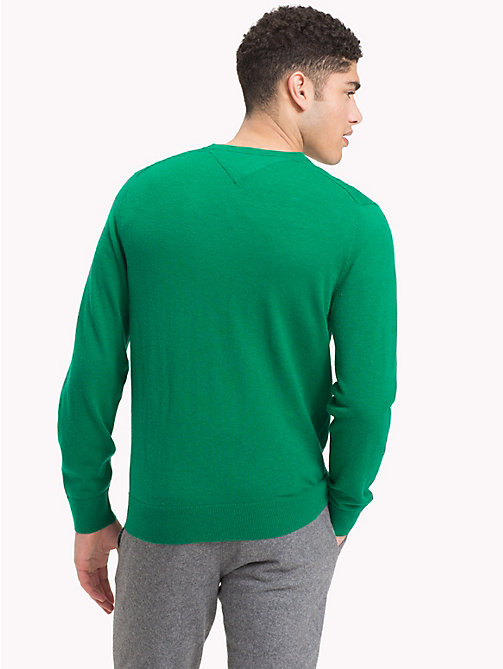 TOMMY HILFIGER Lambswool V-Neck Jumper - ULTRAMARINE GREEN HTR -  Winter Warmers - detail image 1