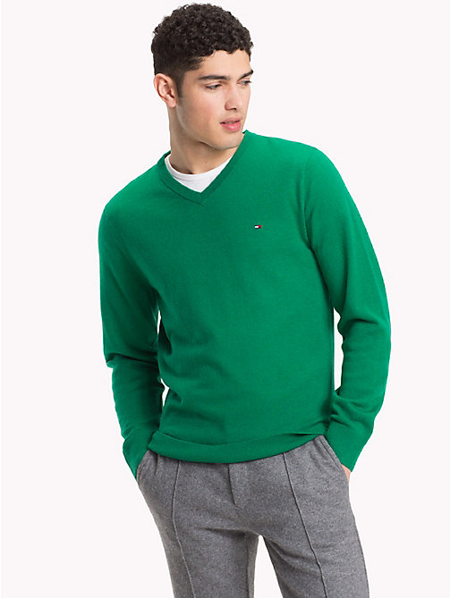 TOMMY HILFIGER Lambswool V-Neck Jumper - ULTRAMARINE GREEN HTR - TOMMY HILFIGER Winter Warmers - main image