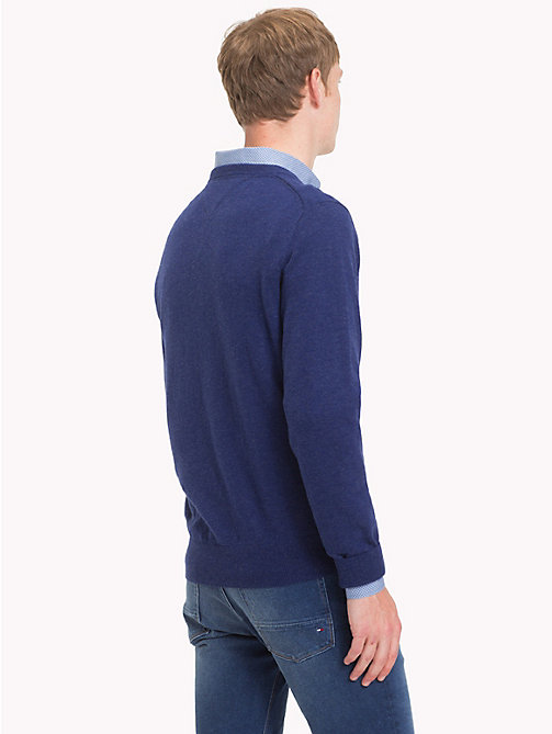 TOMMY HILFIGER Lambswool V-Neck Jumper - BLUE DEPTHS HTR -  Winter Warmers - detail image 1