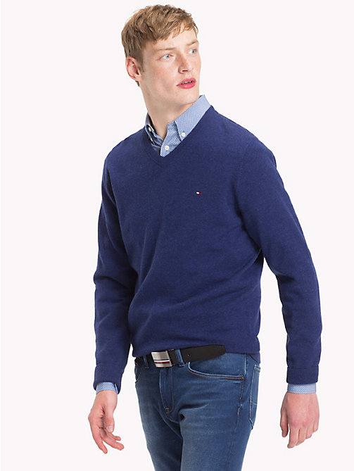 TOMMY HILFIGER Lambswool V-Neck Jumper - BLUE DEPTHS HTR - TOMMY HILFIGER Winter Warmers - main image