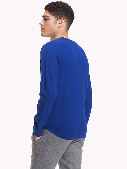 TOMMY HILFIGER Lambswool V-Neck Jumper - MAZARINE BLUE HEATHER - TOMMY HILFIGER NEW IN - detail image 1