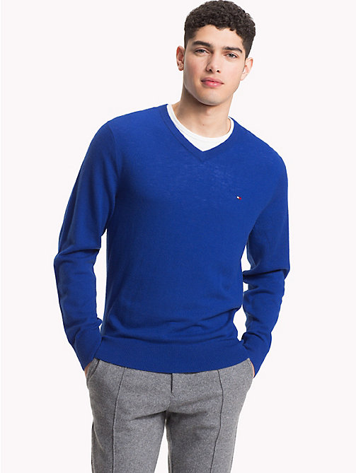 TOMMY HILFIGER Lambswool V-Neck Jumper - MAZARINE BLUE HEATHER - TOMMY HILFIGER NEW IN - main image