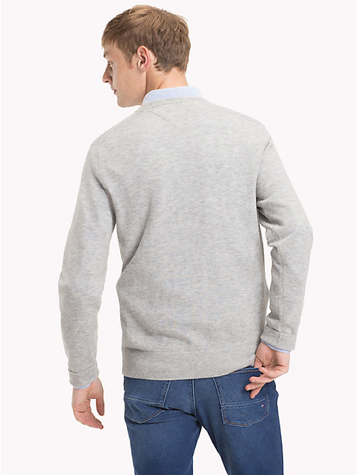 TOMMY HILFIGER Lambswool V-Neck Jumper - CLOUD HTR - TOMMY HILFIGER NEW IN - detail image 1