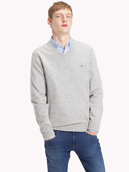 TOMMY HILFIGER Lambswool V-Neck Jumper - CLOUD HTR - TOMMY HILFIGER NEW IN - main image