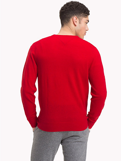 TOMMY HILFIGER Lambswool V-Neck Jumper - HAUTE RED HTR - TOMMY HILFIGER Winter Warmers - detail image 1