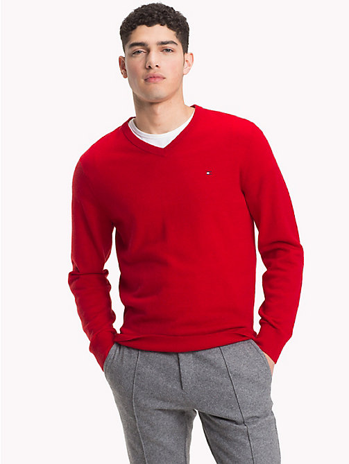 TOMMY HILFIGER Lambswool V-Neck Jumper - HAUTE RED HTR - TOMMY HILFIGER Winter Warmers - main image