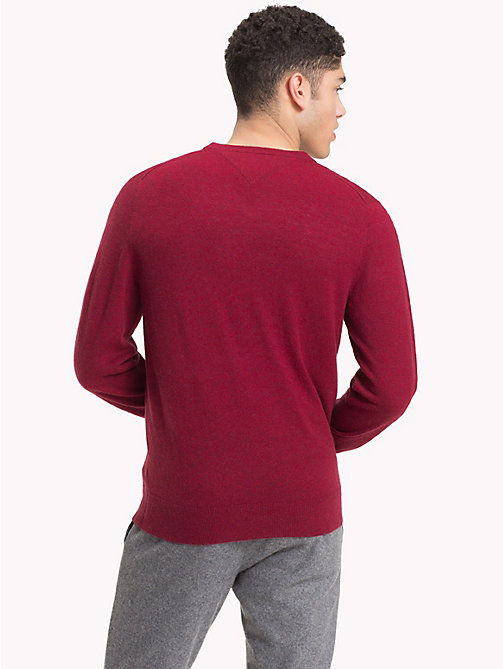 TOMMY HILFIGER Lambswool V-Neck Jumper - RHUBARB HEATHER - TOMMY HILFIGER NEW IN - detail image 1