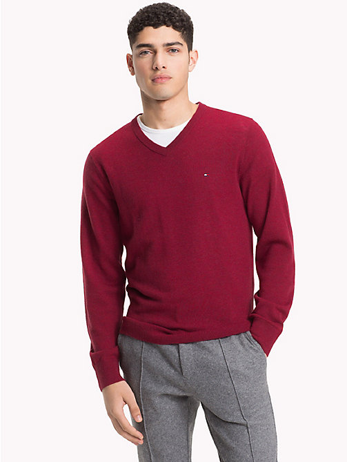 TOMMY HILFIGER Lambswool V-Neck Jumper - RHUBARB HEATHER - TOMMY HILFIGER NEW IN - main image