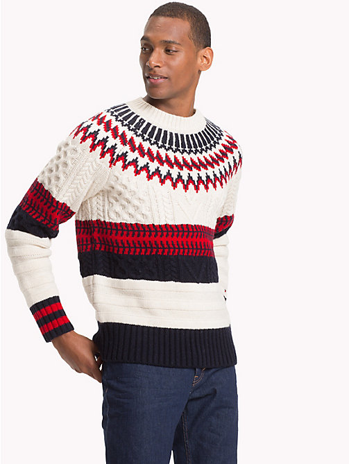 TOMMY HILFIGER Fair Isle Chunky Knit Jumper - SNOW WHITE - TOMMY HILFIGER NEW IN - main image