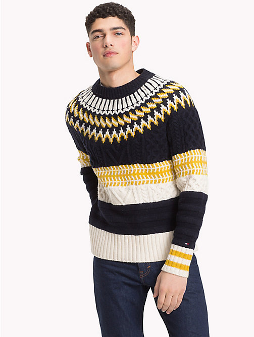 TOMMY HILFIGER Fair Isle Chunky Knit Jumper - 413-SKY CAPTAIN - TOMMY HILFIGER NEW IN - main image