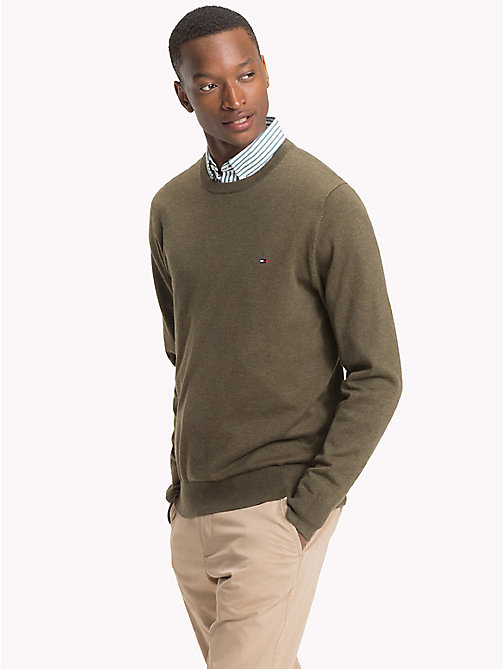 TOMMY HILFIGER Cotton Silk Crew Neck Jumper - GRAPE LEAF HEATHER - TOMMY HILFIGER What to wear - main image