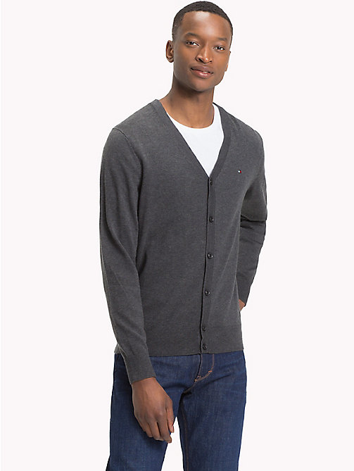 TOMMY HILFIGER Cotton Silk V-Neck Cardigan - CHARCOAL HTR - TOMMY HILFIGER Clothing - main image
