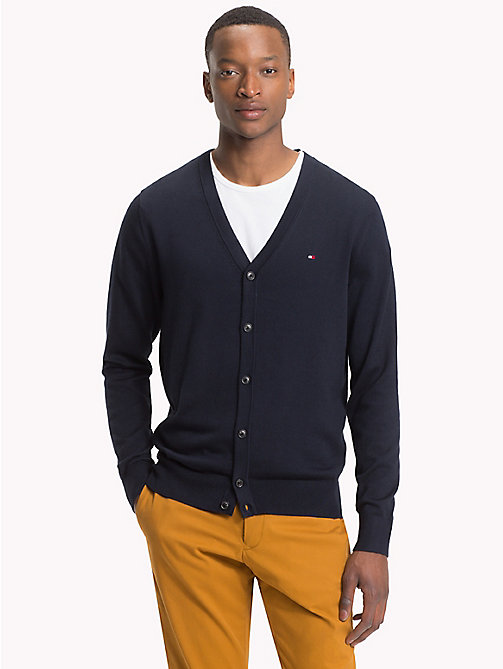 TOMMY HILFIGER Cotton Silk V-Neck Cardigan - 413-SKY CAPTAIN - TOMMY HILFIGER Cardigans - main image