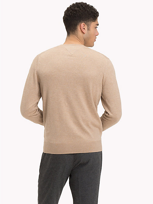 TOMMY HILFIGER Cotton Silk V-Neck Jumper - BATIQUE KHAKI HEATHER - TOMMY HILFIGER Clothing - detail image 1