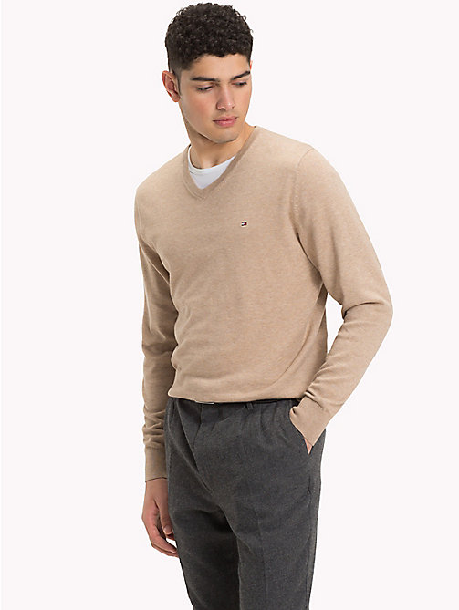 TOMMY HILFIGER Cotton Silk V-Neck Jumper - BATIQUE KHAKI HEATHER - TOMMY HILFIGER Clothing - main image