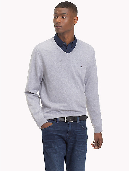 TOMMY HILFIGER Cotton Silk V-Neck Jumper - QUICKSILVER HEATHER - TOMMY HILFIGER What to wear - main image