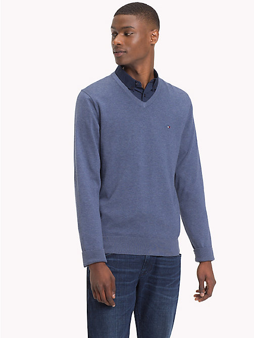 TOMMY HILFIGER Cotton Silk V-Neck Jumper - VINTAGE INDIGO HTR - TOMMY HILFIGER Clothing - main image