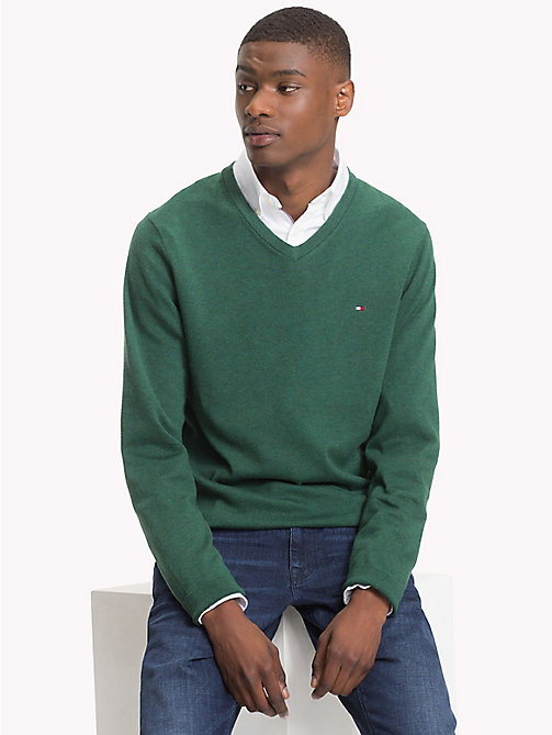 TOMMY HILFIGER Cotton Silk V-Neck Jumper - RAIN FOREST HEATHER - TOMMY HILFIGER What to wear - main image