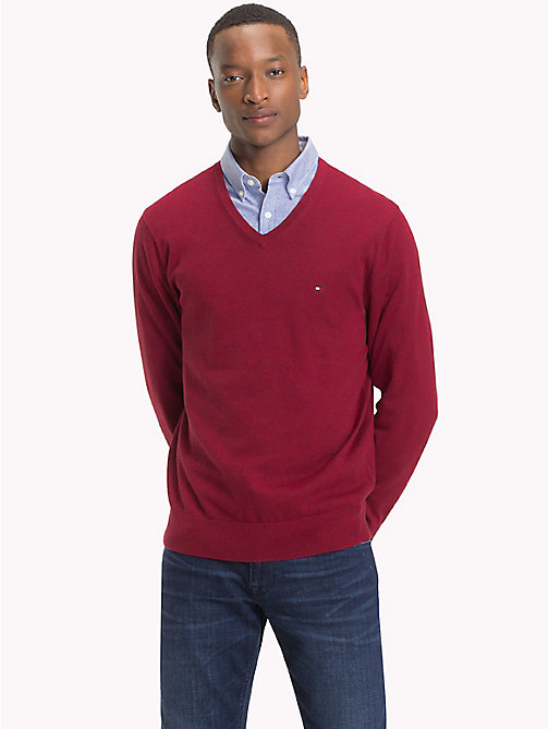 TOMMY HILFIGER Cotton Silk V-Neck Jumper - RHUBARB HEATHER - TOMMY HILFIGER NEW IN - main image