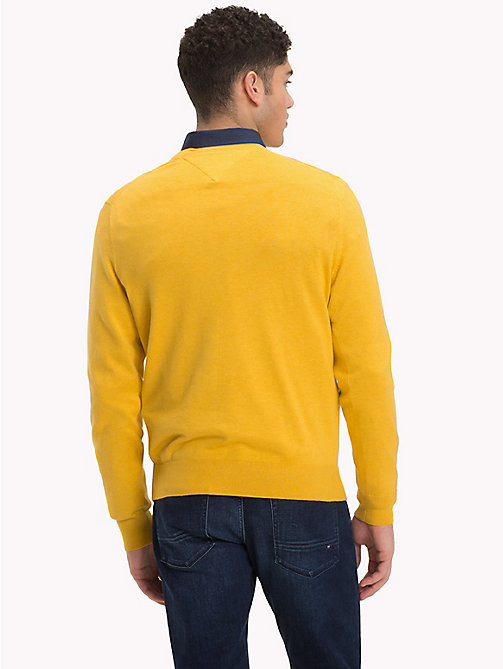 TOMMY HILFIGER Cotton Silk V-Neck Jumper - CEYLON YELLOW HEATHER - TOMMY HILFIGER Jumpers - detail image 1