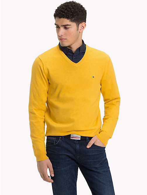 TOMMY HILFIGER Cotton Silk V-Neck Jumper - CEYLON YELLOW HEATHER - TOMMY HILFIGER Jumpers - main image