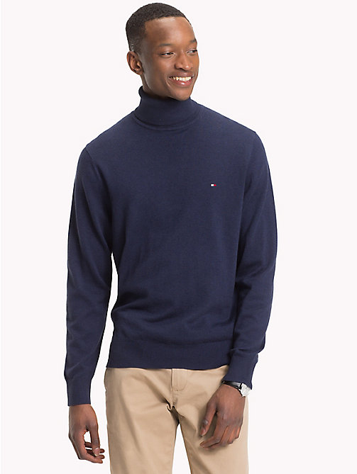 TOMMY HILFIGER Cotton Silk Turtleneck - BLACK IRIS HTR - TOMMY HILFIGER NEW IN - main image