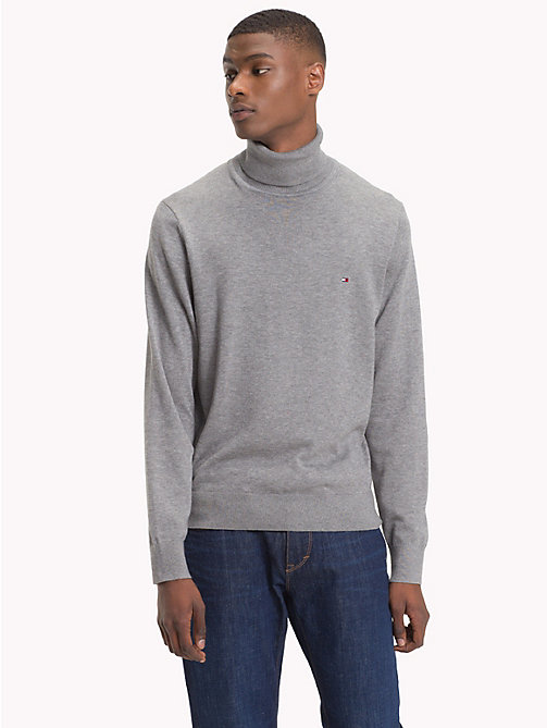 TOMMY HILFIGER Cotton Silk Turtleneck - SILVER FOG HTR - TOMMY HILFIGER Jumpers - main image