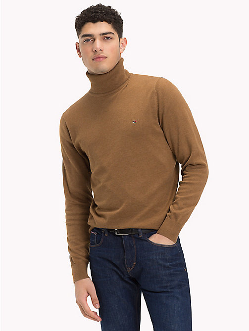 TOMMY HILFIGER Cotton Silk Turtleneck - SEPIA HEATHER - TOMMY HILFIGER Jumpers - main image