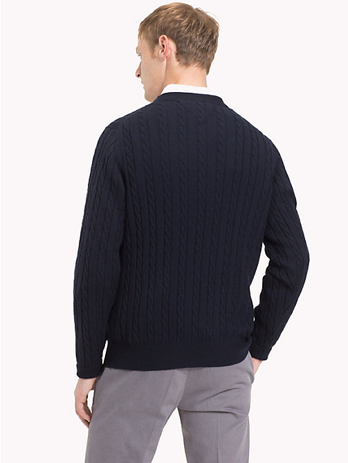 TOMMY HILFIGER Cable-Knit Crew Neck Jumper - SKY CAPTAIN HEATHER - TOMMY HILFIGER NEW IN - detail image 1