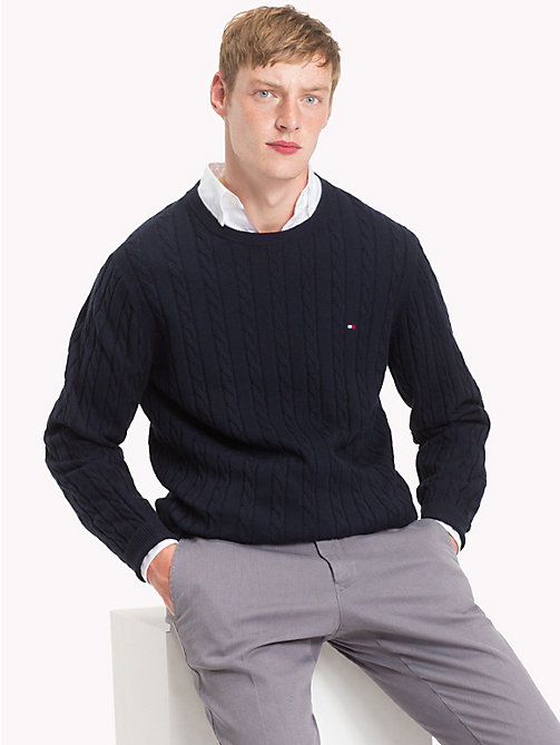 TOMMY HILFIGER Cable-Knit Crew Neck Jumper - SKY CAPTAIN HEATHER - TOMMY HILFIGER NEW IN - main image