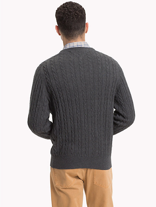 TOMMY HILFIGER Cable-Knit Crew Neck Jumper - CHARCOAL HTR - TOMMY HILFIGER Sweatshirts & Knitwear - detail image 1