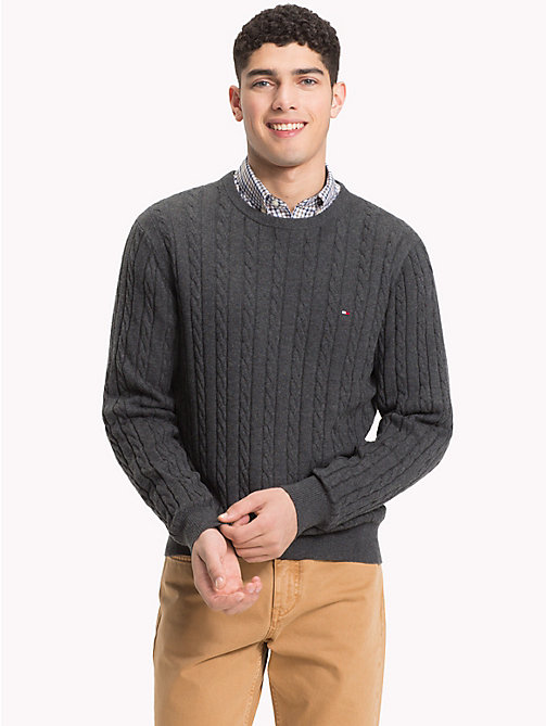 TOMMY HILFIGER Cable-Knit Crew Neck Jumper - CHARCOAL HTR - TOMMY HILFIGER Sweatshirts & Knitwear - main image