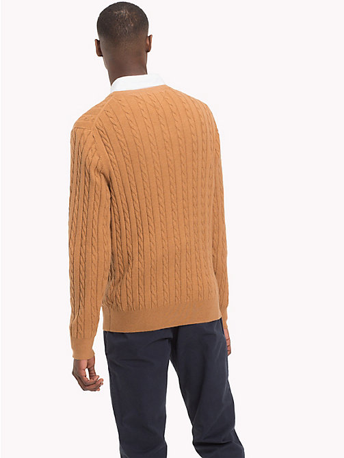 TOMMY HILFIGER Cable-Knit Crew Neck Jumper - DIJON HEATHER - TOMMY HILFIGER Sweatshirts & Knitwear - detail image 1