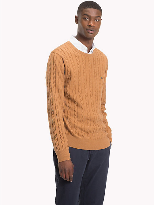 TOMMY HILFIGER Cable-Knit Crew Neck Jumper - DIJON HEATHER - TOMMY HILFIGER Sweatshirts & Knitwear - main image