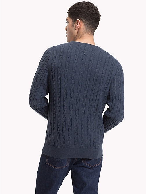 TOMMY HILFIGER Cable-Knit Crew Neck Jumper - OMBRE BLUE HEATHER - TOMMY HILFIGER NEW IN - detail image 1